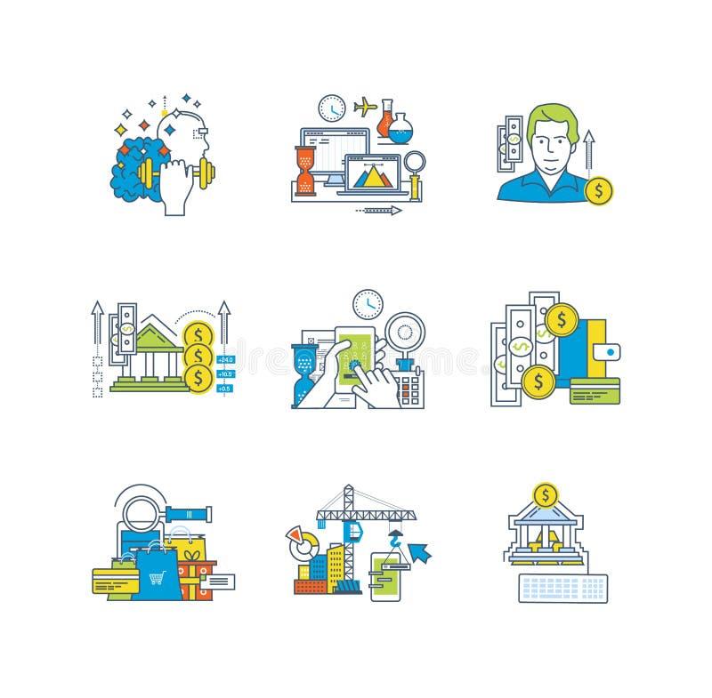 Edukacja i badanie, finansowi savings, projekt, zarządzanie, oprogramowanie rozwój ilustracji