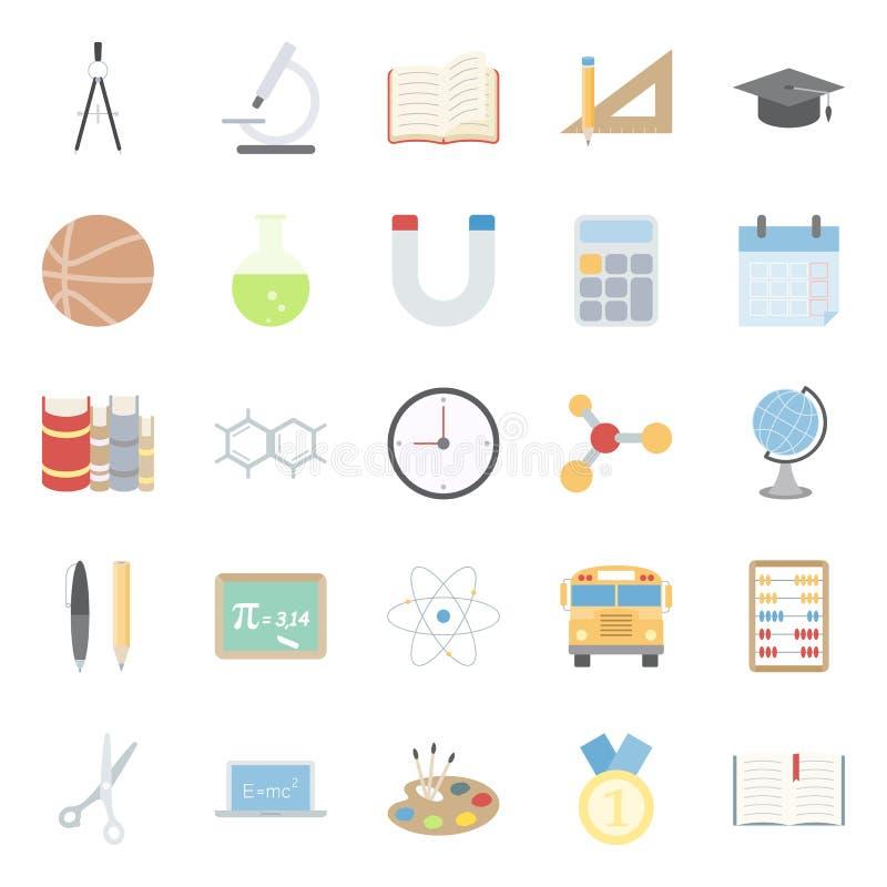 Download Edukacja I Szkoła Koloru Płaskie Ikony Ustawiać Ilustracji - Ilustracja złożonej z notatnik, autobus: 53784318