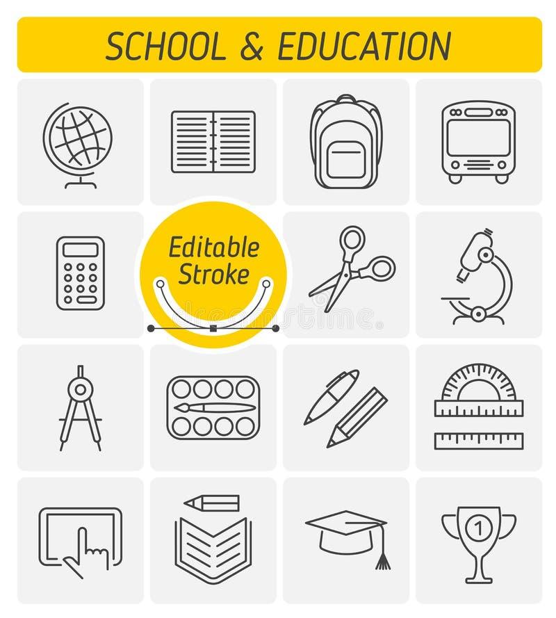 Edukacja i szkoła zarysowywamy wektorowego ikona set royalty ilustracja