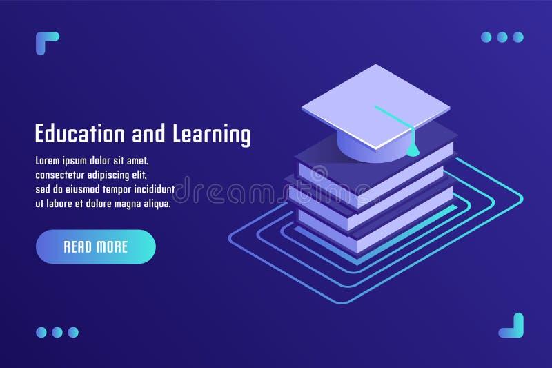 Edukacja i uczenie, online szkolenie, dystansowa edukacja, tutorials, nauczanie online Wektorowa ilustracja w płaskim isometric 3 royalty ilustracja