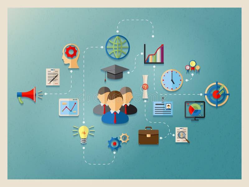 Edukacja i zarządzanie w sieci royalty ilustracja