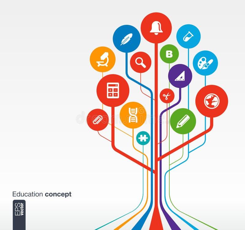 Edukacja infographic projekt z drzewem i ikonami royalty ilustracja