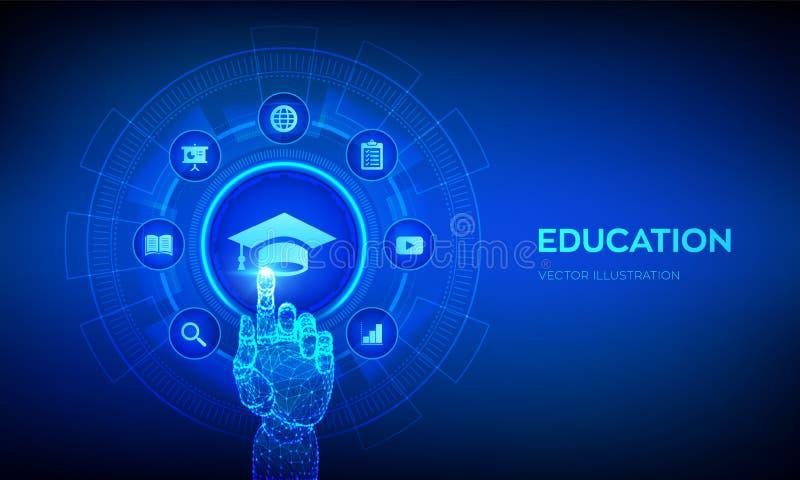 Edukacja Innowacyjna koncepcja e-kształcenia i technologii internetowej Seminarium internetowe, wiedza, kursy szkoleniowe online  ilustracja wektor
