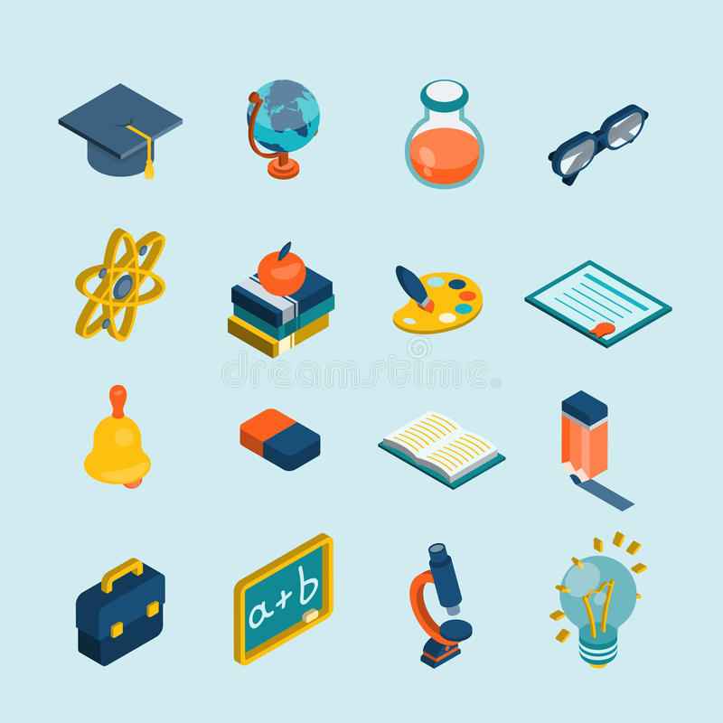 Edukacja isometric set ilustracja wektor