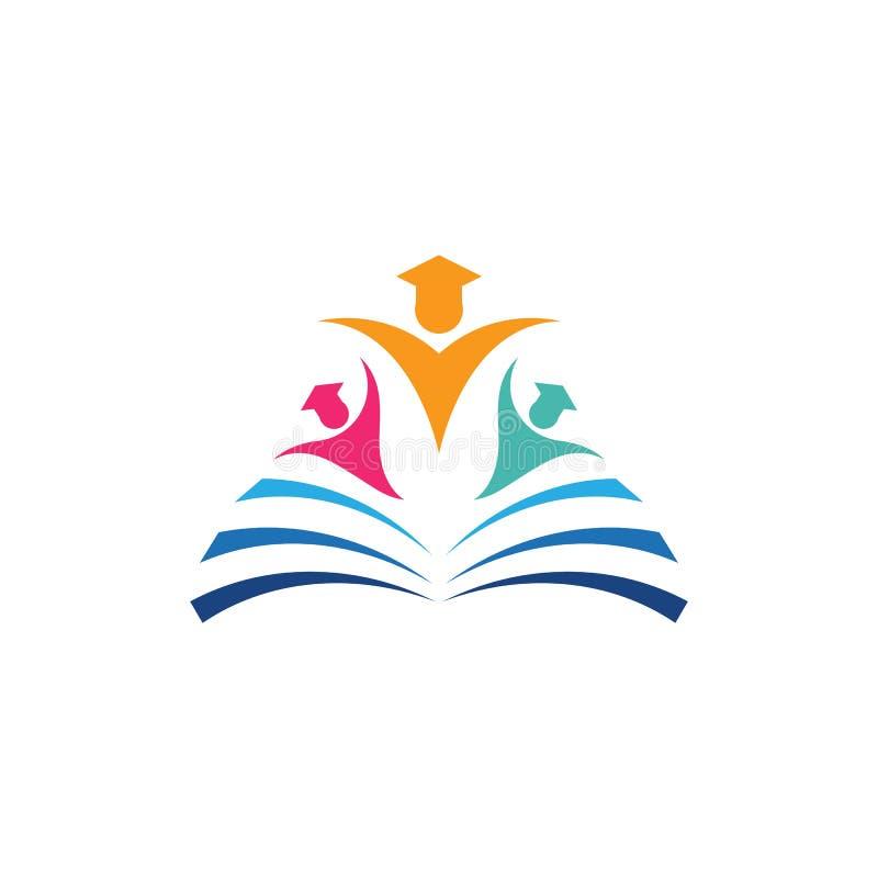 Edukacja ksi??kowy logo ilustracja wektor