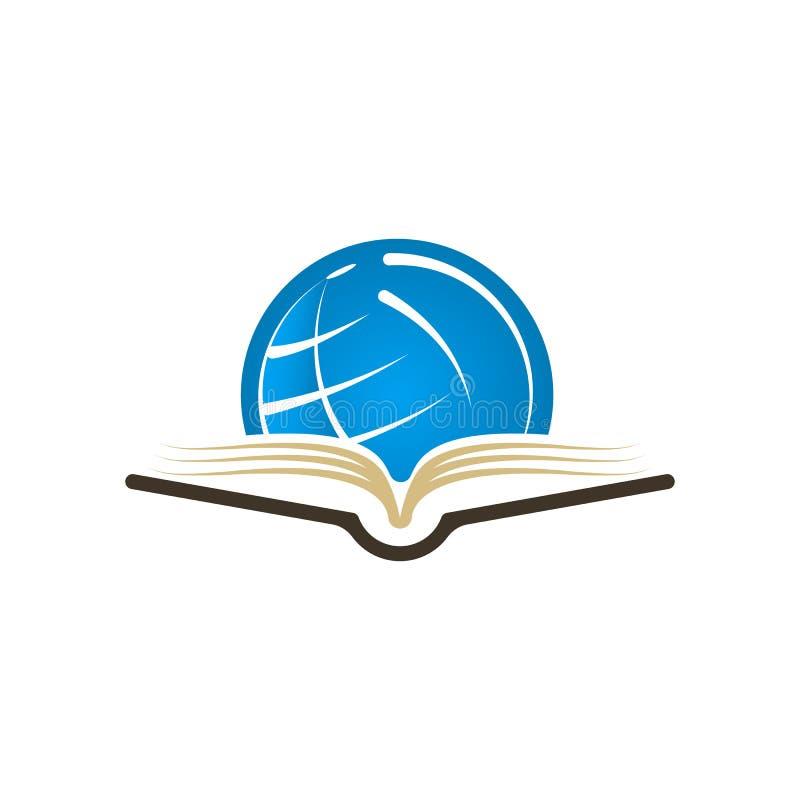 Edukacja loga pojęcie z książkową ikoną i kulą ziemską, wektorowy illustra royalty ilustracja