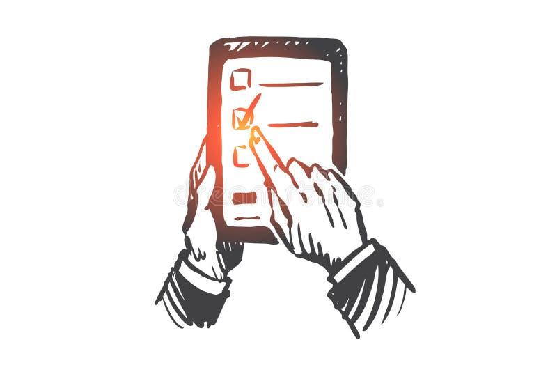 Edukacja, pastylka, cyfrowa, technologia, biblioteczny pojęcie Ręka rysujący odosobniony wektor ilustracji