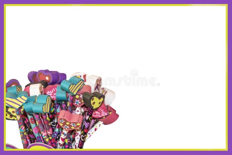 Edukacja plakat, karta lub tło dla walentynka dnia - Kierowe gumki na ołówkach na bielu z purpurami i kolorem żółtym obrazy royalty free