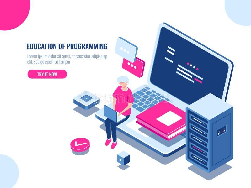Edukacja programowanie, młody człowiek praca na laptopie, online kurs, serweru pokój i centrum danych, uczenie i interneta, ilustracja wektor