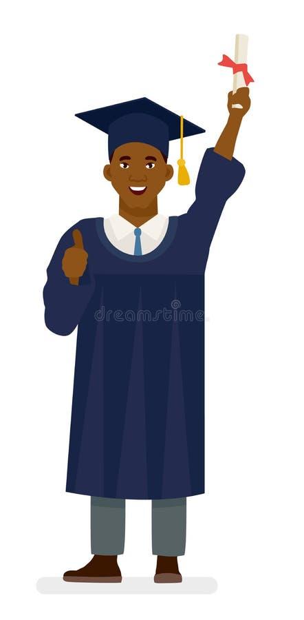 Edukacja, skalowanie i ludzie pojęć, - szczęśliwy amerykanina afrykańskiego pochodzenia uczeń w moździerz deskach i kawaler togac royalty ilustracja