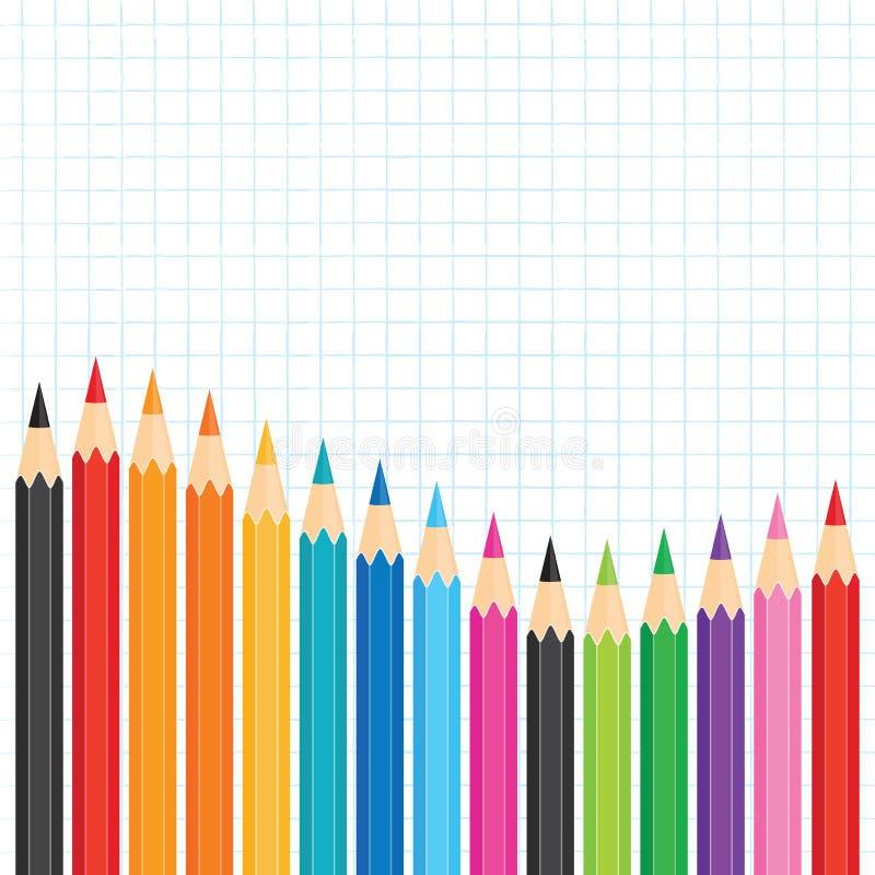 Edukacja szablon z rzędem barwioni ołówki na wykresu papierze ilustracji
