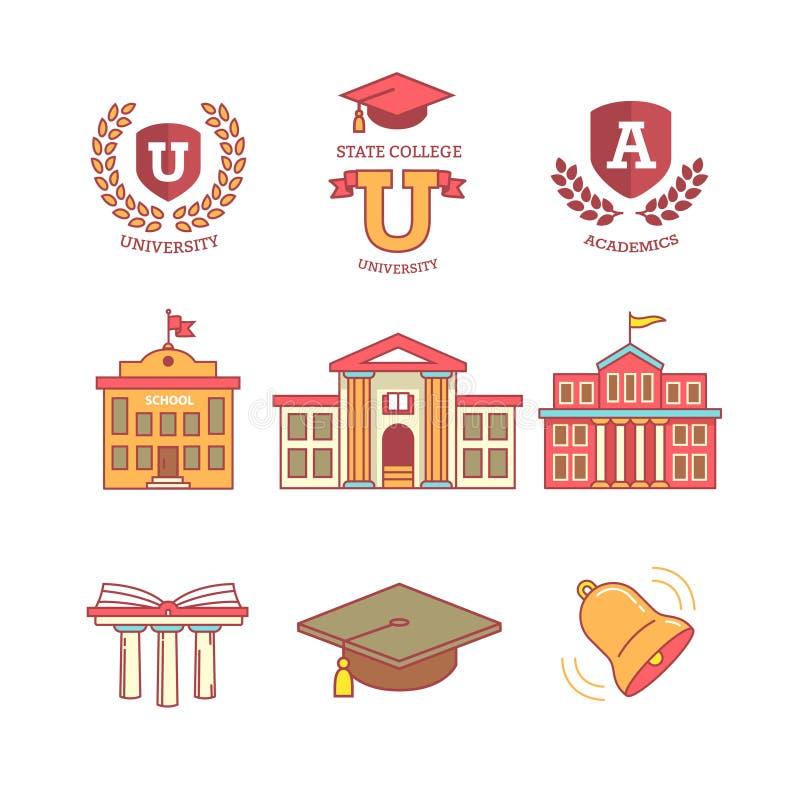 Edukacja, szkoła, akademia, szkoła wyższa i uniwersytet, royalty ilustracja