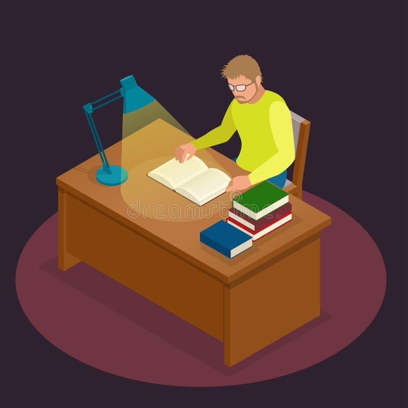 Edukacja, szkoła, nauka i literatura, Płaski isometric młodego człowieka obsiadanie w czytaniu i bibliotece książka, czasopismo royalty ilustracja