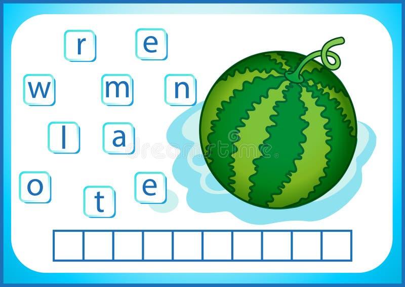 Edukacja szkolna Angielski flashcard dla uczyć się angielszczyzny Piszemy imionach warzywa i owoc Słowa są łamigłówki grze dla ilustracji