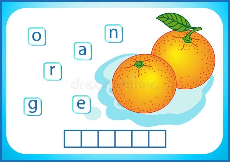Edukacja szkolna Angielski flashcard dla uczyć się angielszczyzny Piszemy imionach warzywa i owoc Słowa są łamigłówki grze dla ilustracja wektor