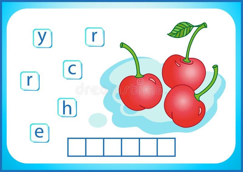 Edukacja szkolna Angielski flashcard dla uczyć się angielszczyzny Piszemy imionach warzywa i owoc Słowa są łamigłówki grze dla royalty ilustracja