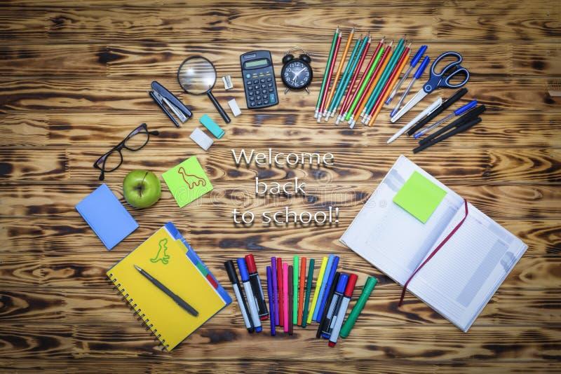 Edukacja szkolna, drewniany, tło, stół, biuro, z powrotem szkoła zdjęcia stock