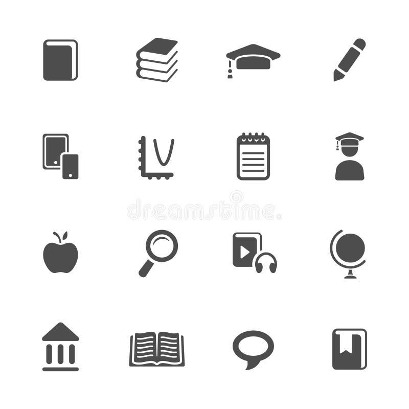 Edukacja tematu ikony set ilustracji