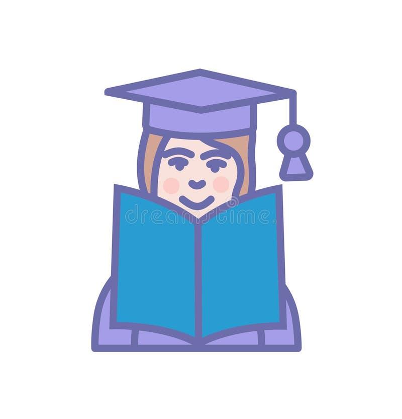Edukacja uczenie ikony otwarta ksi??ka z ucznia lub profesora szyldowym symbolem ilustracja wektor
