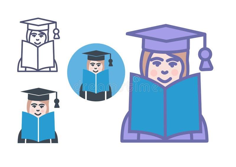 Edukacja uczenie ikony otwarta ksi??ka z ucznia lub profesora szyldowym symbolem royalty ilustracja