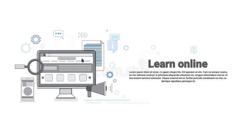 Edukacja uczenie sieci Online sztandaru Cienka linia ilustracji