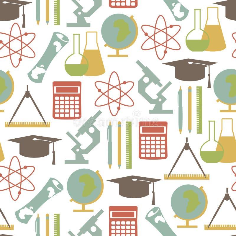 Edukacja uczenie szkolny uniwersytecki wzór z nauka elementami odizolowywał wektorową ilustrację ilustracja wektor