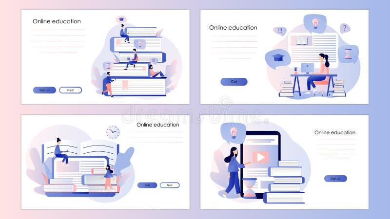 edukacja w sieci Parawanowy szablon dla mobilnego m?drze telefonu, l?duje stron?, szablon, ui, sie?, mobilny app, plakat, sztanda ilustracji