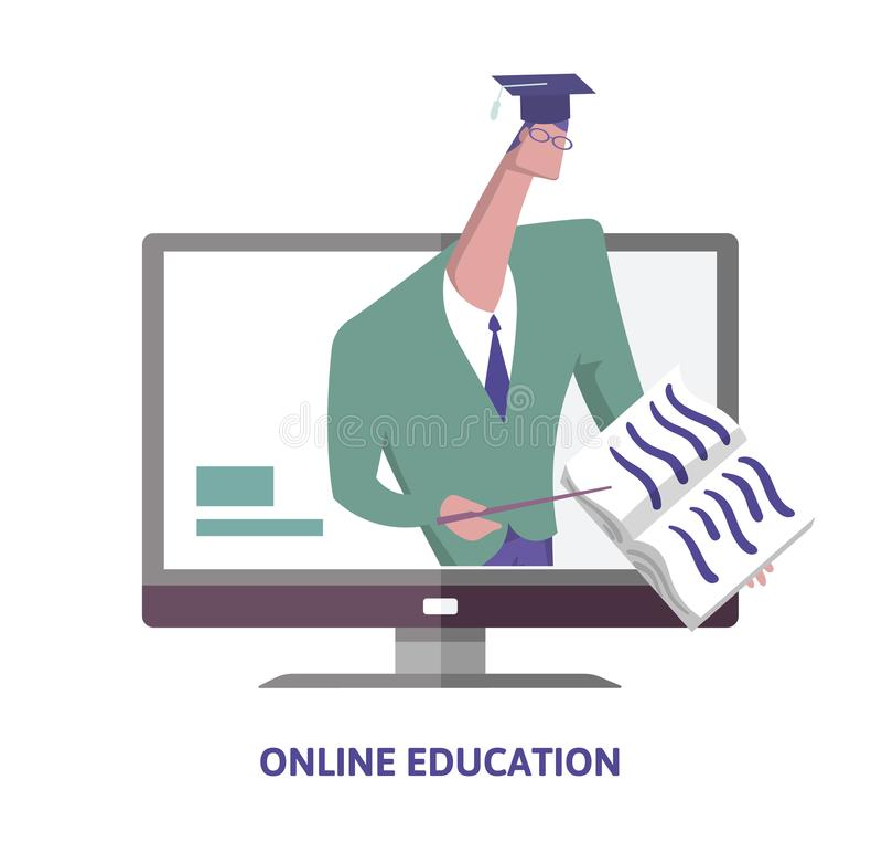 edukacja w sieci Uczony wskazuje przy książką od komputerowego monitoru w kapeluszu Dystansowy nauczanie pojęcie wektoru ilustrac royalty ilustracja
