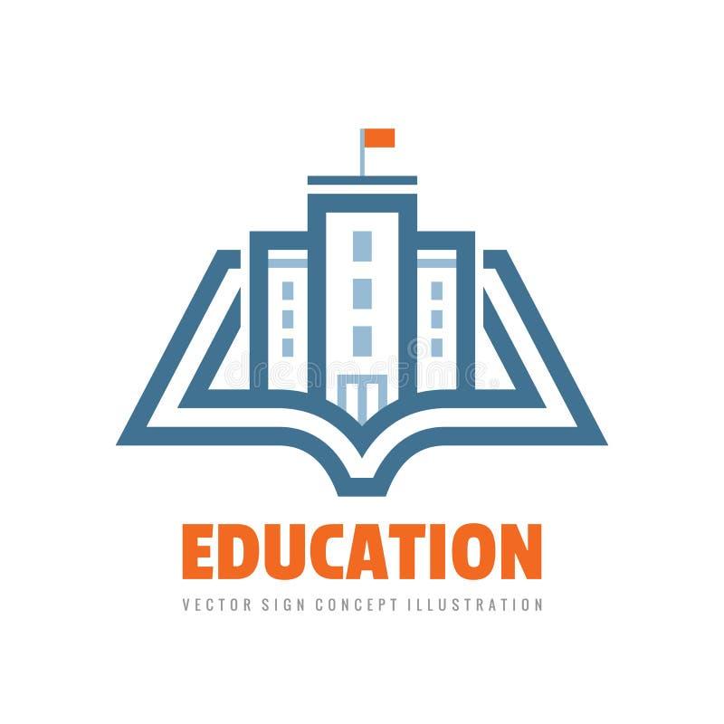 Edukacja - wektorowa loga szablonu pojęcia ilustracja Książkowego uczenie kreatywnie znak Emblemat dla szkoły lub uniwersyteta ilustracji