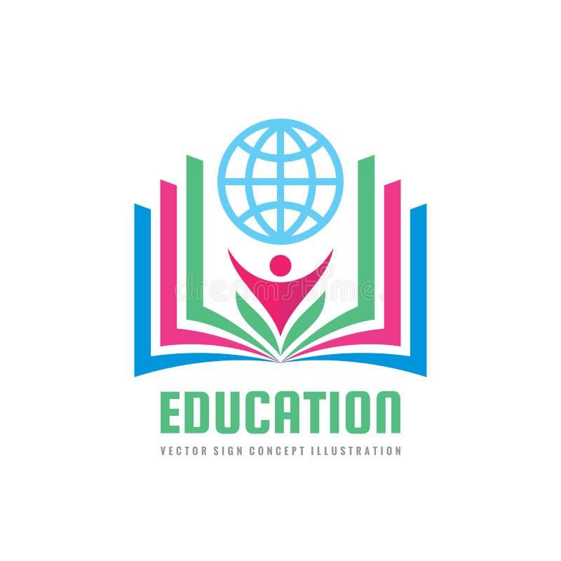 Edukacja - wektorowa loga szablonu pojęcia ilustracja w mieszkanie stylu projekcie Uczyć się książka znaka Szkoła średnia symbol ilustracja wektor