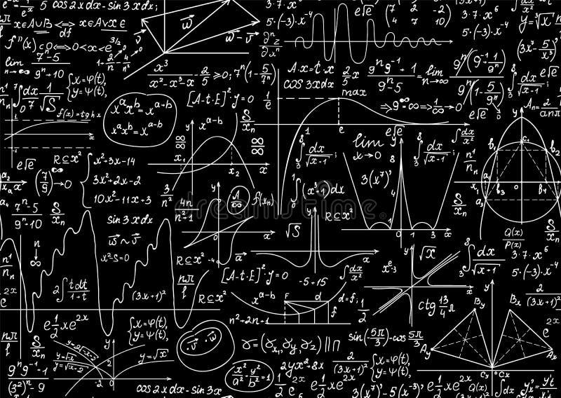 Edukacja wektorowy bezszwowy wzór z ręcznie pisany formułami, równaniami i obliczeniami matematyki i fizyki, ilustracja wektor