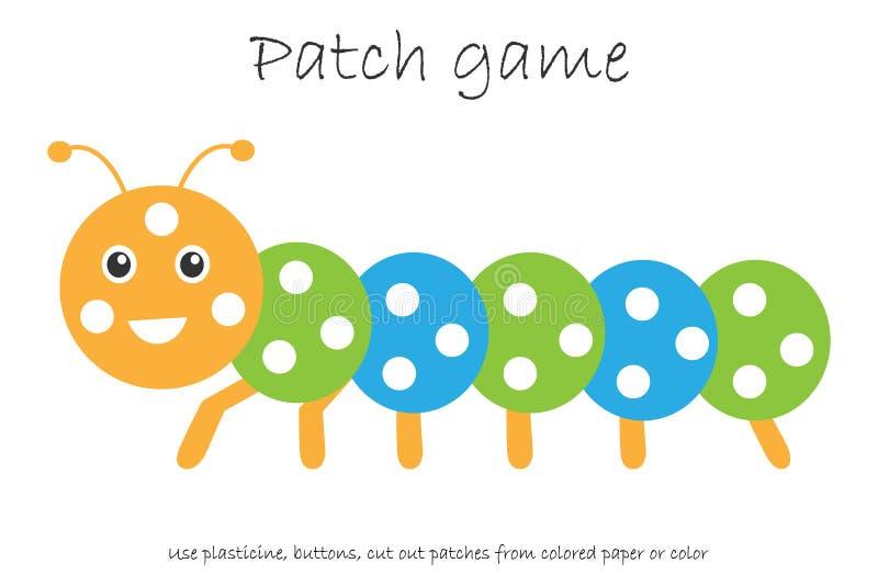 Edukacji łaty gemowa gąsienica dla dzieci rozwijać motorowe umiejętności, używa plastelin łaty, guziki, barwiącego papier lub kol ilustracja wektor