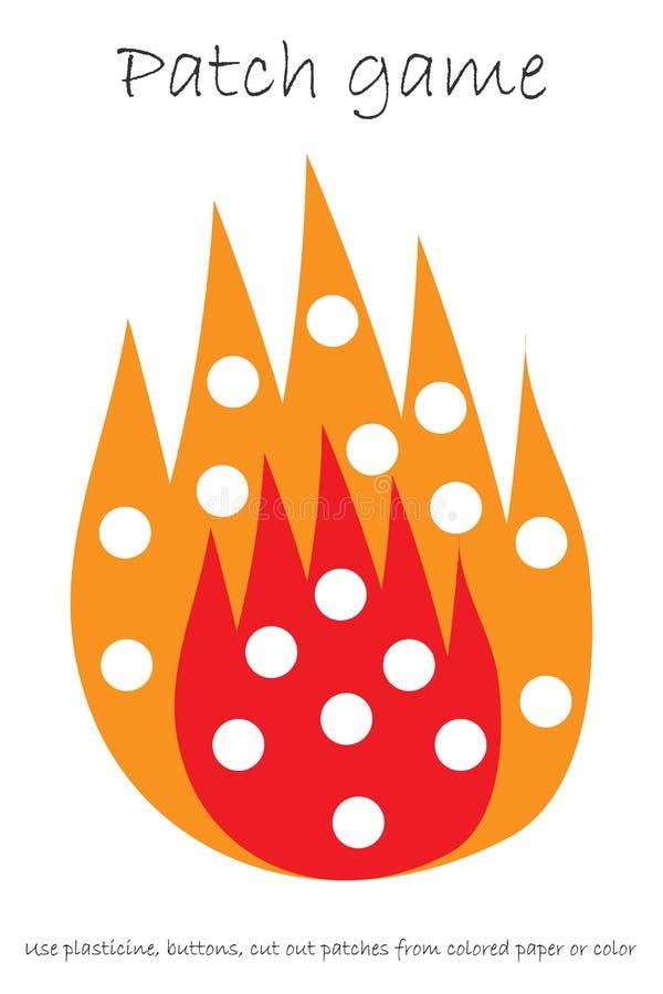 Edukacji łaty gry ogień dla dzieci rozwijać motorowe umiejętności, używa plastelin łaty lub barwi stronę, guziki, barwiący papier ilustracji