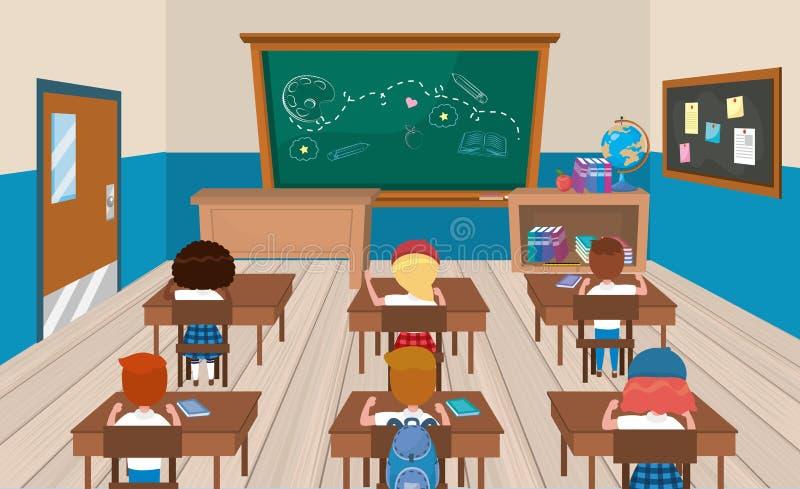 Edukacji claroom z dziewczynami i chłopiec uczniami z książkami ilustracji