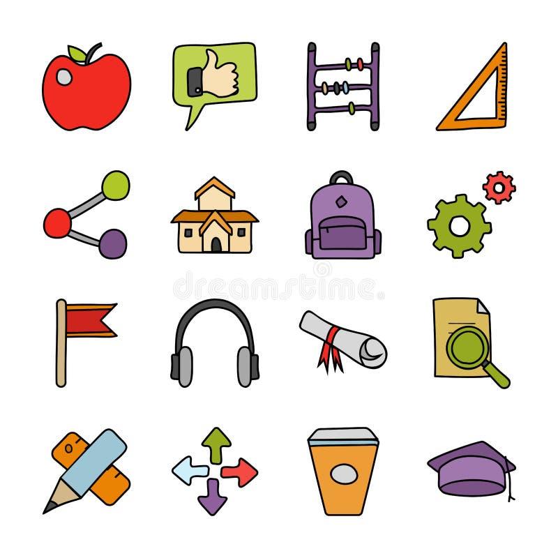 Edukacji Doodle wektory Ustawiający ilustracji
