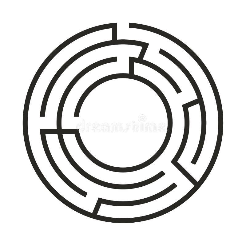Edukacji logiki gemowy labitynt dla dzieciaków Znalezisko prawy spos?b Odosobniona prosta round labiryntu czerni linia na białym  royalty ilustracja
