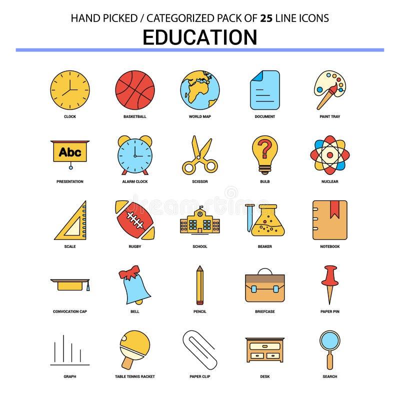 Edukacji mieszkania linii ikona Ustawiająca - Biznesowy pojęcie ikon projekt royalty ilustracja