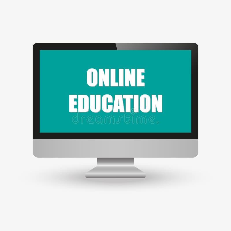 Edukacji online pojęcia Laptop z skalowanie nakrętką na parawanowej nakreślenie ikonie Dystansowy online uczenie przy komputerowy ilustracji