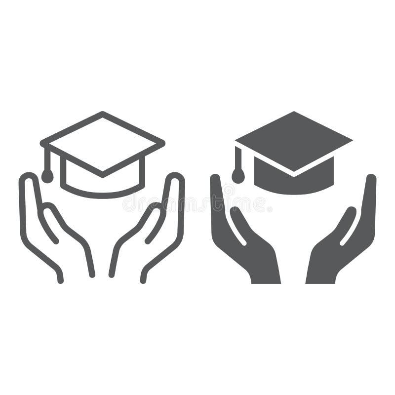 Edukacji ubezpieczenia linia, glif ikona, ochrona i nauka, edukacji ochrony znak, wektorowe grafika, liniowy ilustracji