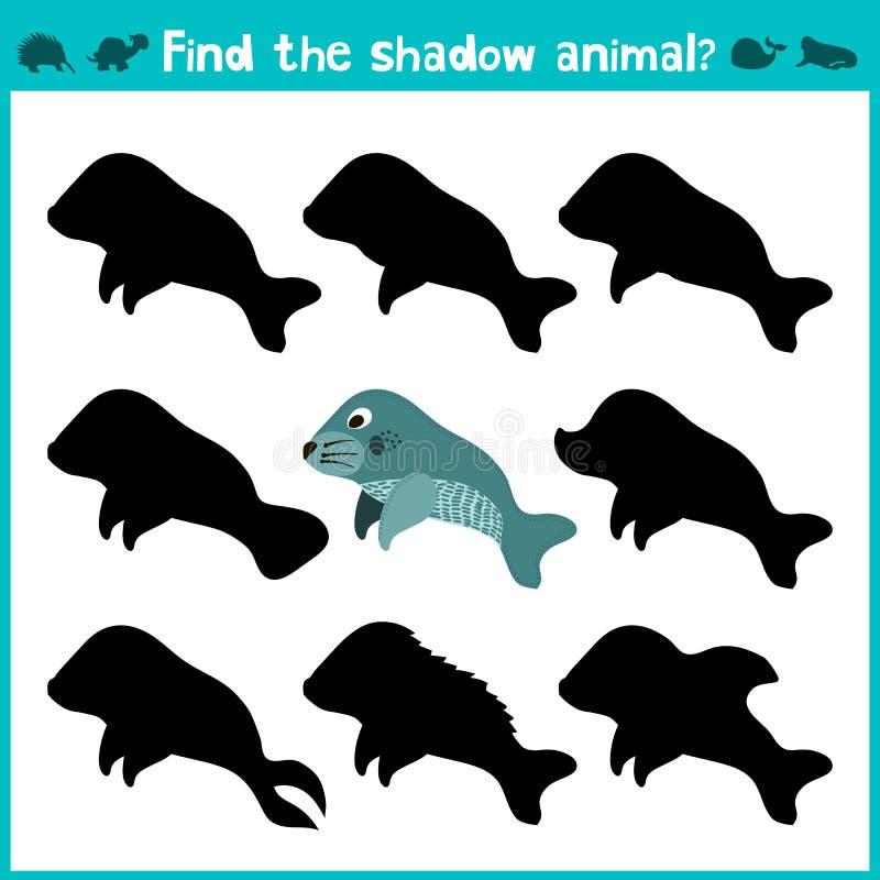 Edukacyjna dziecko kreskówki gra dla dzieci preschool wiek Znajduje prawego cienia ślicznego morskiego manata wektor ilustracji