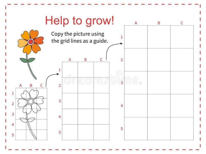 Edukacyjna gra dla dzieci kopiuje obrazek używać siatkę - Pomaga żółtego kwiatu rosnąć - również zwrócić corel ilustracji wektora ilustracji
