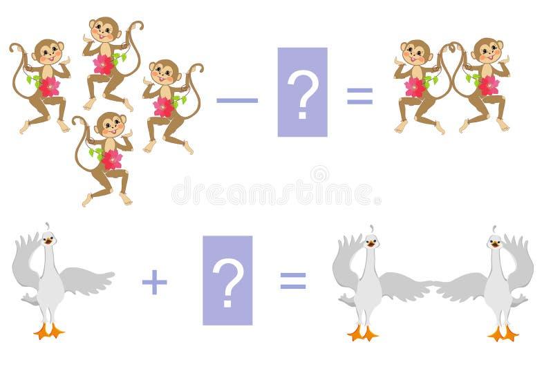 Edukacyjna gra dla dzieci Przykłady z ślicznymi małpami i małymi łabędź royalty ilustracja