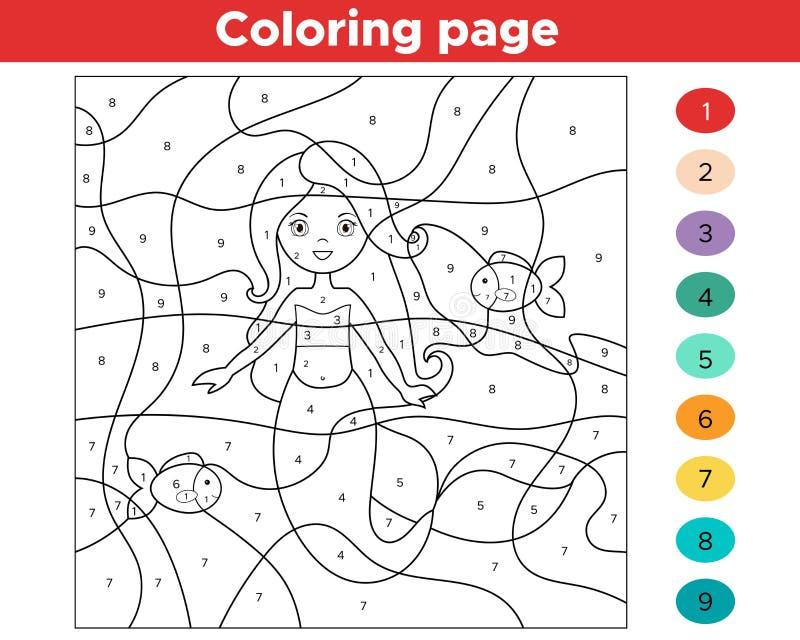 Edukacyjna gra dla dzieciaków Kolor liczbami ilustracji