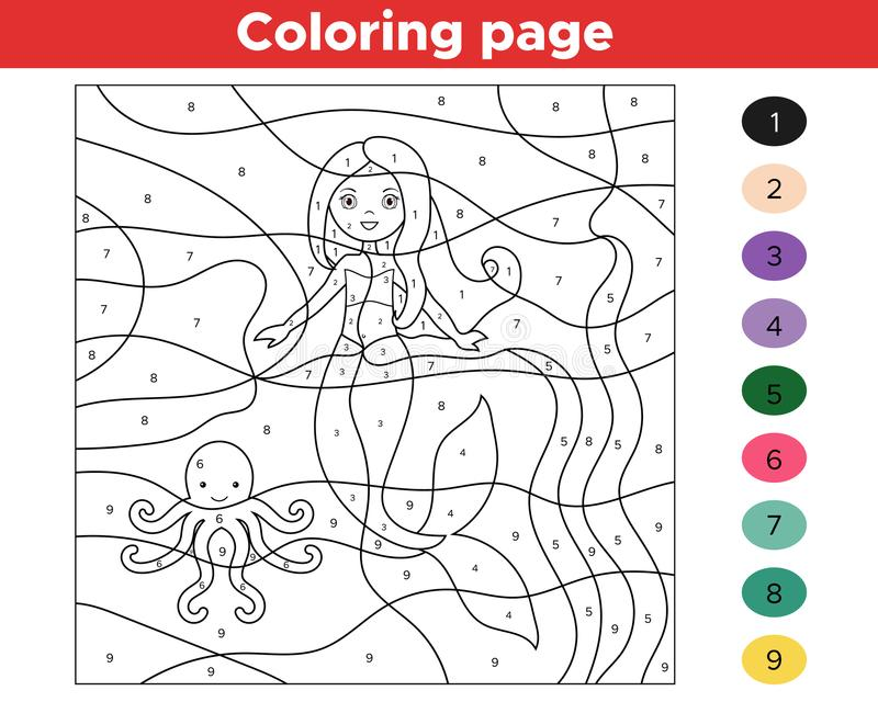 Edukacyjna gra dla dzieciaków Kolor liczbami royalty ilustracja
