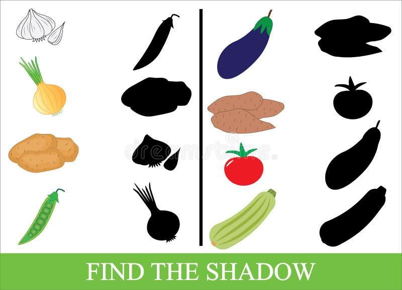 Edukacyjna gra dla dzieciaków Znajduje poprawnego cień Warzywa ilustracja wektor