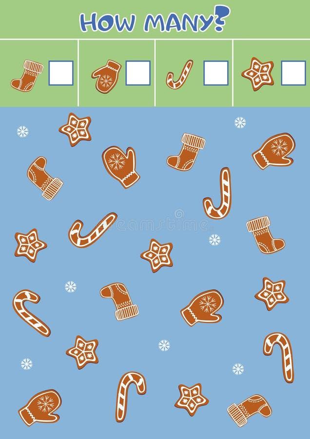 Edukacyjna odliczająca gra dla preschool dzieci z imbirowym Bożenarodzeniowym miodownikiem royalty ilustracja