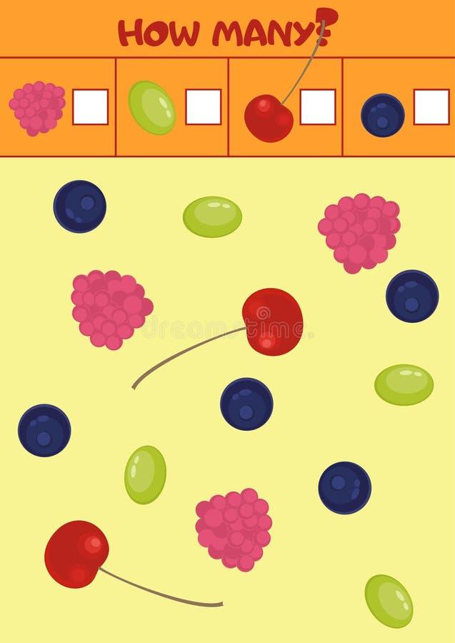 Edukacyjna odliczająca gra dla preschool dzieci z różnorodność jagodami ilustracja wektor
