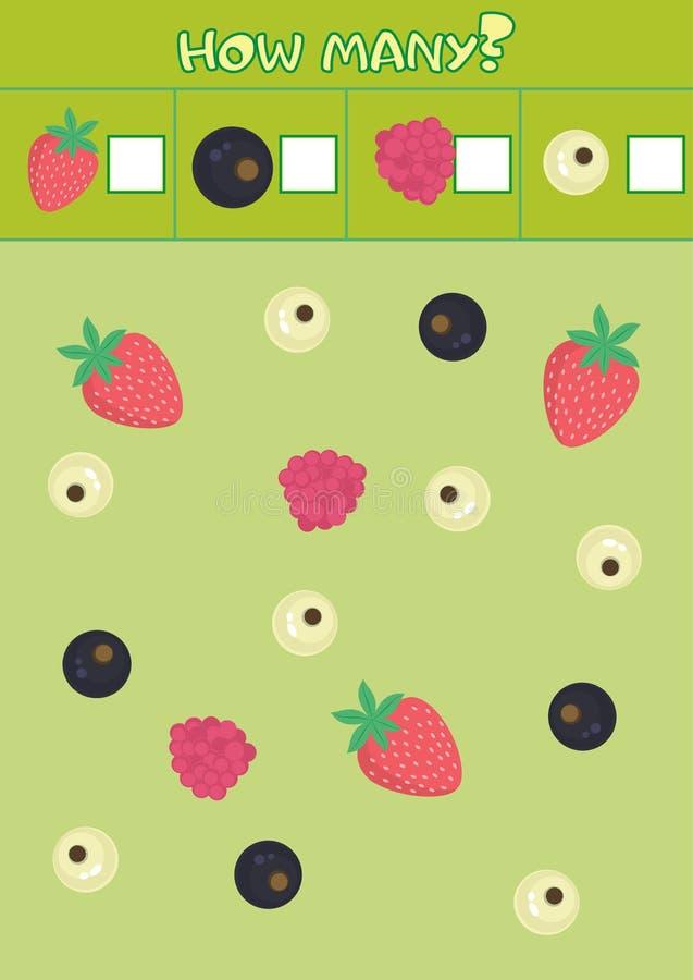 Edukacyjna odliczająca gra dla preschool dzieci z różnorodność jagodami ilustracji