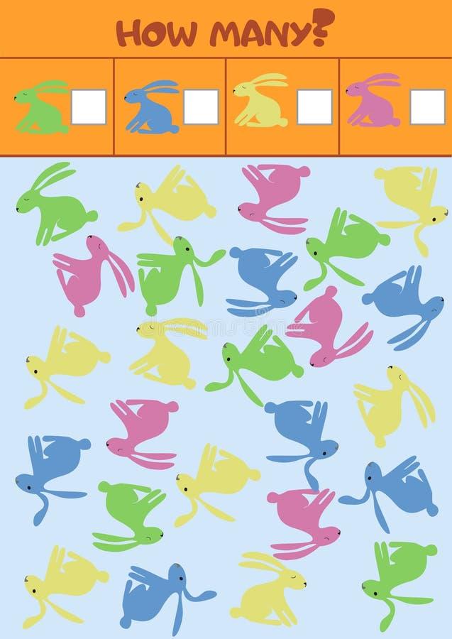 Edukacyjna odliczająca gra dla preschool dzieci z różnymi królikami royalty ilustracja