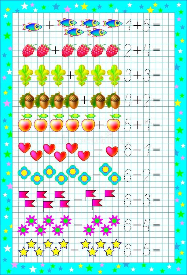 Edukacyjna strona dla dzieci z ćwiczeniami na kwadratowym papierze z liczbą 6 ilustracji